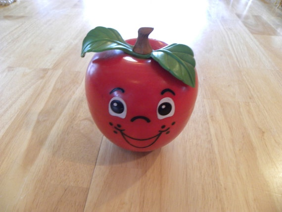 Vintage 1972 Fisher Price Happy Apple Roly Poly Chimes Short Stem