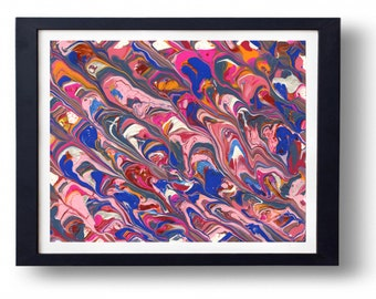 "Original painting. Pink, red, blue and orange ""Bubblegum"" abstract painting. 8x10. Comes with matting and protective sleeve."