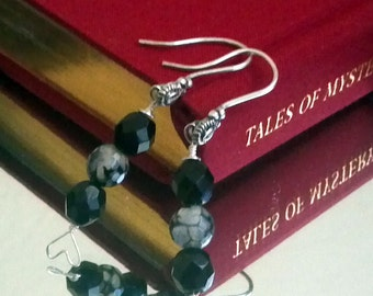 Silver Earrings, Dragons Vein Agate & Swarovski Beaded Earrings