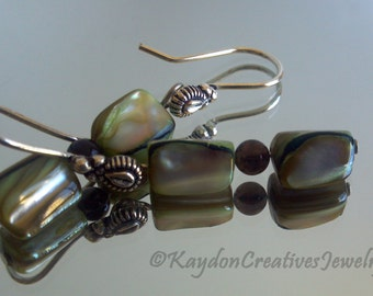 Earrings, Green Mother of Pearl and Smokey Quartz Earrings, Sterling Silver