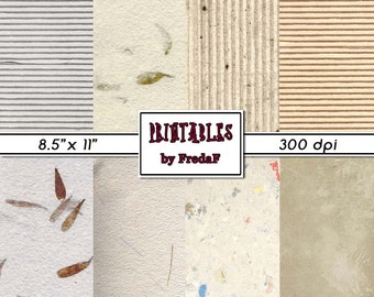 Printable recycling eco papers, 8 neutral natural sheets, beige off white, scrapbooking card making crafts mixed media, 8.5' x 11' pdf