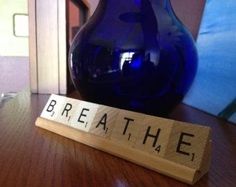 BREATHE, Spa decor, salon decor, yoga gift, office desk, mom gift, cancer, meditation, zen,