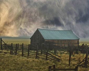 barn abandoned Wyoming clouds storm field landscape photography fine art 8x10