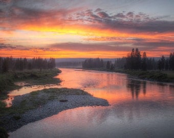 sunset river Yellowstone trees landscape scenic photography fine art 8x10 Wyoming