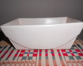 Small, White, Rectangular USA Pottery Planter