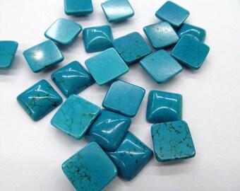 wholesale bulk 8x8mm 100pcs cabochons turquoise square  blue green  jewelry beads