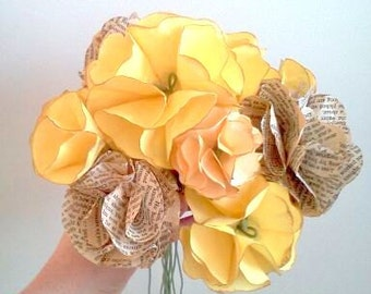 Yellow bouquet with book paper blooms- 15 assorted blooms