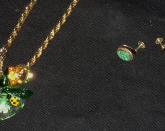 Necklace with Ladybug Pendant and Jade Screwback Earrings