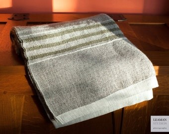 Handwoven Wool Throw with Natural Grey Color Green Stripes Swans Island Blanket