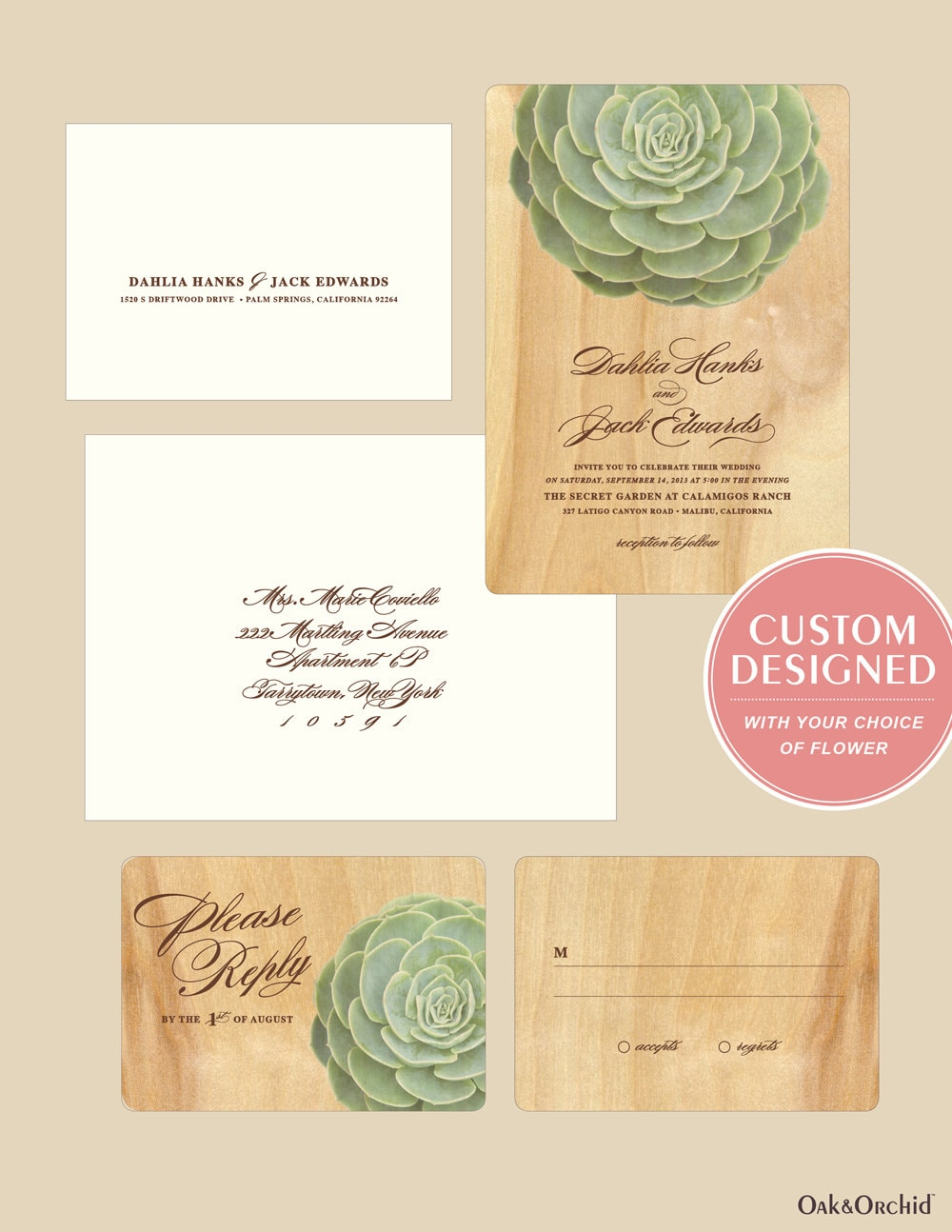 Rustic wood wedding invitation succulent sample set for Wedding invitations 50 cents each