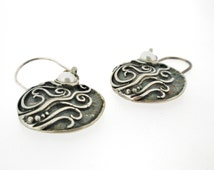 Under  50 dollar , Handcrafted Silver Earrings with Pearls , Gift for woman , Designed by Amir Poran