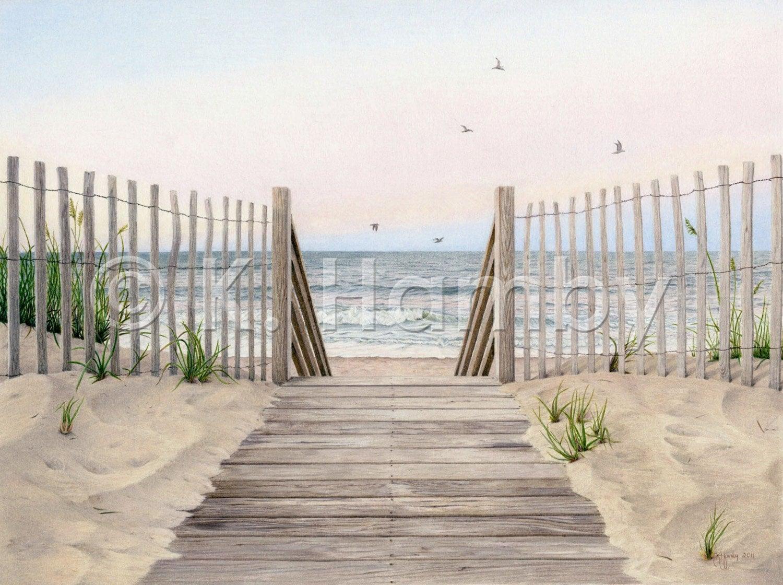 Beach Sunset Art Print of an Original by KHambyPencilDrawings