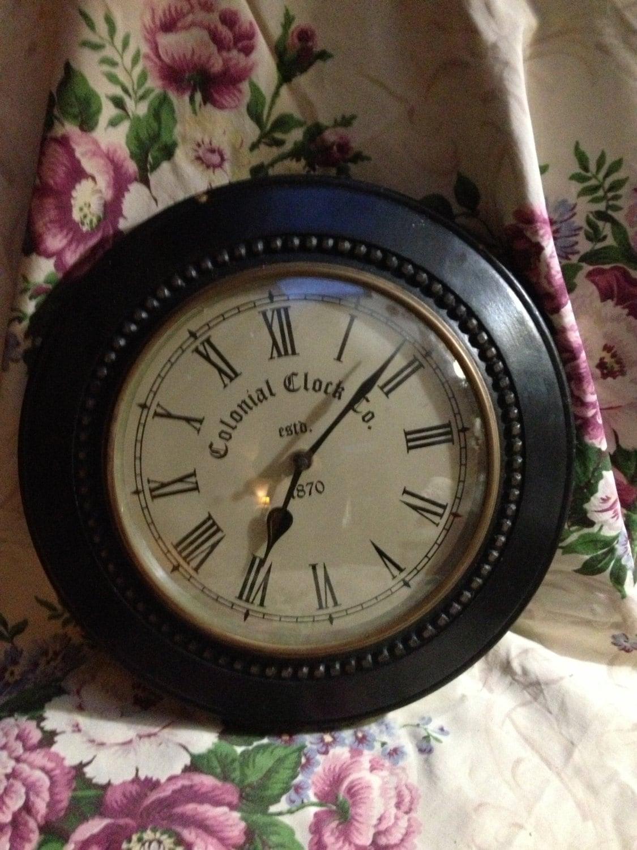 Vintage Colonial Clock Co 1870 Wall Clock Roman Numerals Dark