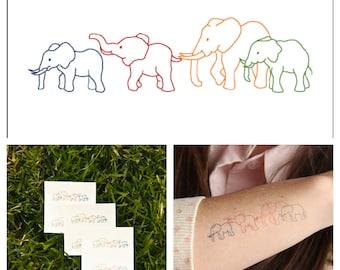 Elephants - temporary tattoo (Set of 2)