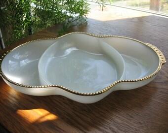 Milk Glass Divided Dish,  Fire King, White, gold trim, Vintage