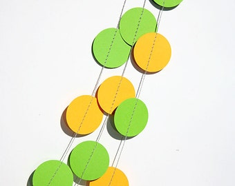 Paper Garland, party decor, YELLOW & lime GREEN, circles paper garland, Birthday party, Baby shower, Bridal shower, photo props, KC-1082