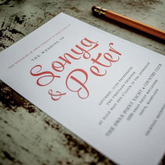 Rustic Wedding Invitation, Wedding Invitation - The Sonya - Rustic Wedding Invites, modern, bold, type, invite, letterpress, foil, unique