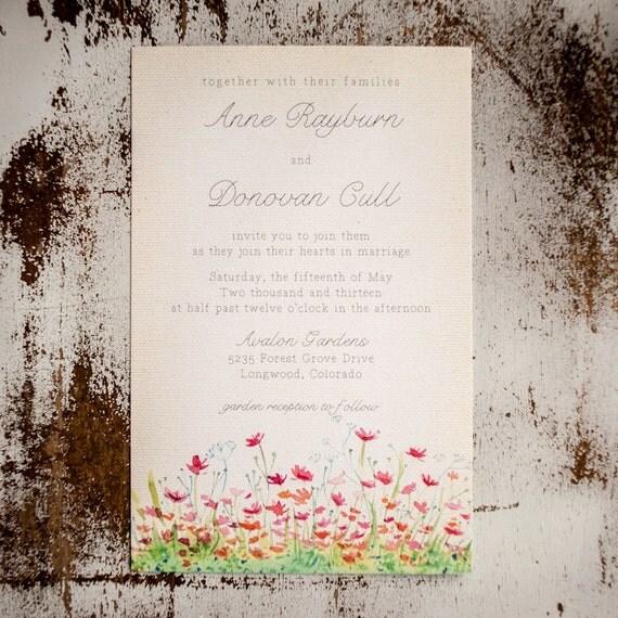 Floral Wedding Invitation, Garden Wedding Invitation, Boho wedding invitation, rustic wedding invitation flower wedding - The Meadow