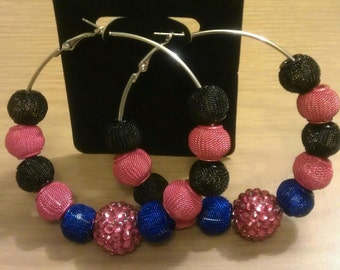 Basketball wives and love and hip hop inspired  70mm multi-color mesh bead with red resin bead center
