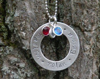 Hand Stamped Mother's Necklace with Crystal Birthstones