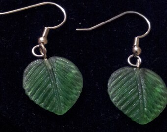 Hand-carved sea glass leaf earrings