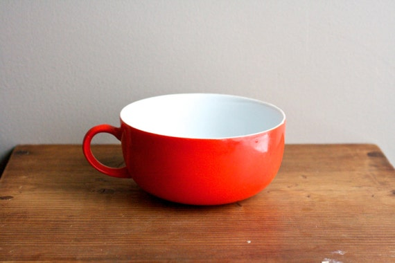 Reserved // Poppy Red Bowl With Handle // Vintage Cereal or Soup Bowl // White Interior Glass Bowl // Red Orange Bowl