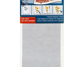 Darice (2) sheets Magnetic Canvas Self Adhesive Magnetic Sheet 5 inch X 8 inch Flexible Magnet easy cut out with scissors