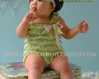 2 pieces Green and pink Petti Romper Set. Lace Petti Romper ,Baby Girl Photo Prop