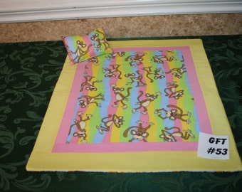 "Monkey print, American Girl sized, reversible doll bed quilt 17.5"" x 20.5"" with matching pillow 4"" x 6"""