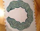 OOAK  waves curved scarf hand dyed California Sea Ranch Wool/Alpaca Lace