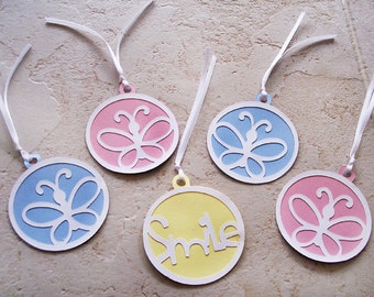 Butterflies and Smile Gift Tag Mix