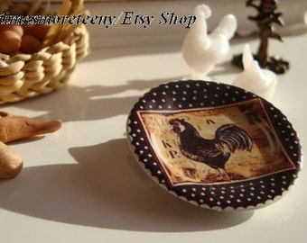 Dollhouse Miniature Country Rooster Black & White Dots Plate