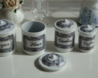 Vintage  Black & White Kitchen Canisters for Dollhouse