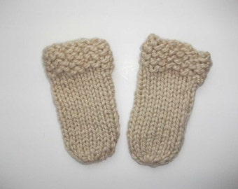 Hand-Knit Beige Thumbless Baby Infant Mittens (0 to 3 Months)