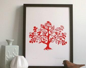 Magic Tree / A3 Print / Art Print / Screenprint / Wall Decor / Wall Art / Scandinavian Art / Art For Kids / Nursery Art / Orginal Print