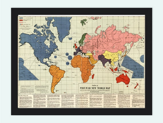Old World Map infamous New World Order map 1942 by OldCityPrints