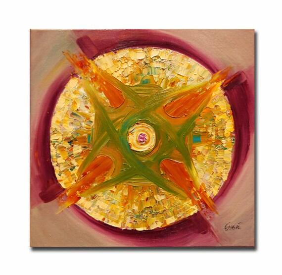 ORIGINAL mandala painting, spiritual art, meditation art, mandala art, violet green