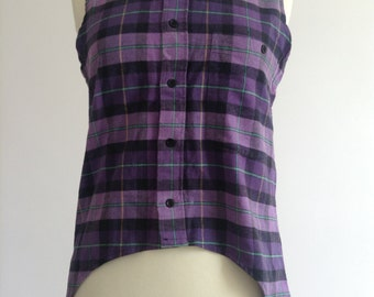 Vintage Re-worked Sleeveless Checked Flannel Shirt
