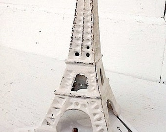 Eiffel Tower, Shabby Chic , Creamy White, French Decor, Cast Iron, Dark Gray Decor