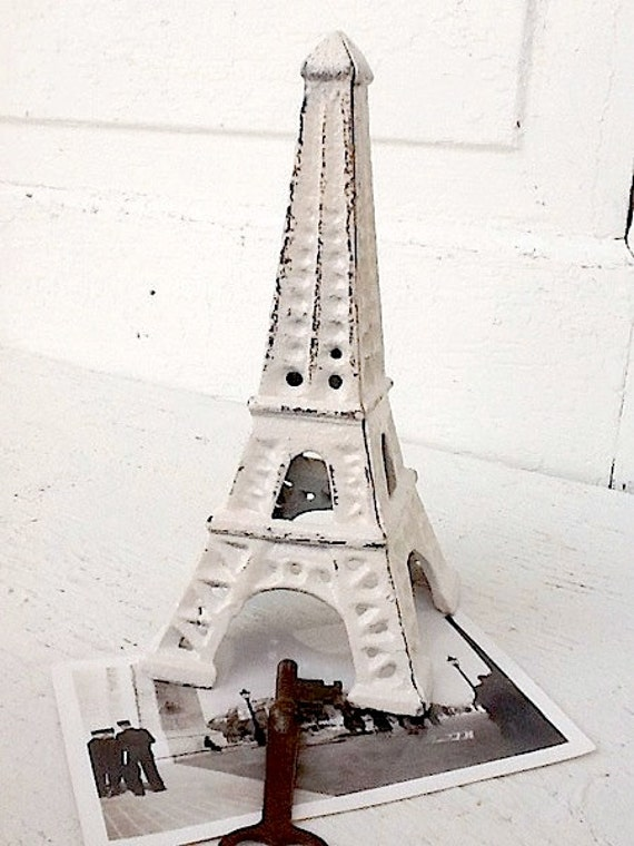 Eiffel Tower Shabby Chic Creamy White French Decor Cast Iron Dark