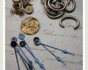 French antique 30pcs pocket watch hands solid brass watch gears bale  vintage jewelry charm