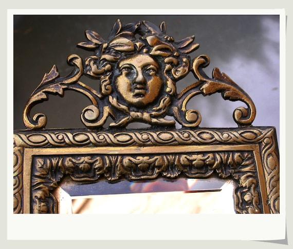 French Antique Art Deco 1920s Solid Bronze Vanity Mirror With