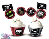 Print Your Fiesta editable digital party set - Pirate Adventure Cupcake Kit - cupcake wrappers, circle toppers, flags, Free shipping
