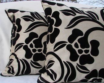 Two18x18 Pillow Covers, Black and Gold Pillow Cover, Two Modern Pillow Cover, 18x18 Pillow Cover with zipper, Throw Pillow