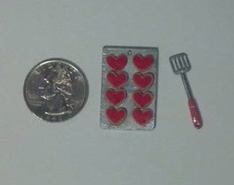 Dollhouse Miniature Heart Cookie Set with Spatula   1:12 scale  One Inch Scale