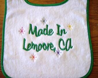 City, State Embroidered Bib