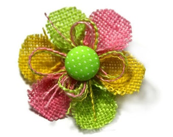 Hair Accessories...Burlap Flower Hair Clip...with a Green with White Polka Dots Center
