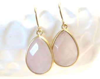Blush Pink Earrings Rose Quartz Earring Gold Earrings Pastel Blush Pink Bridesmaids Earrings Pink Wedding Bridal Jewelry