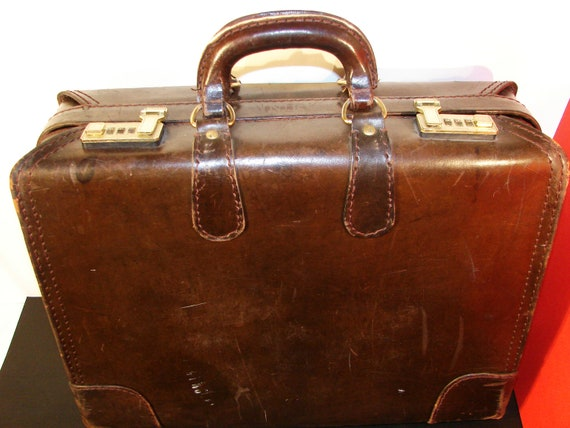 Vintage Presto Brown Leather Suitcase Luggage/ large leather