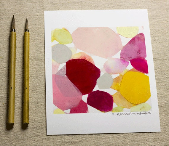 Fine Art Print of Original Abstract Painting-8x10-Garden Petal-Pink-Red-Yellow-Modern Art-Abstract -Minimalist-Pastel